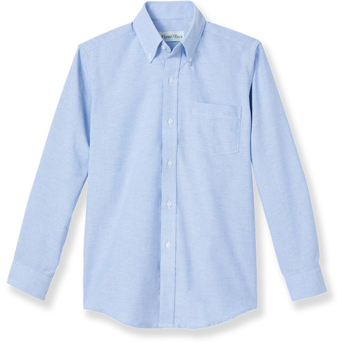 Long Sleeve Oxford Blouse with embroidered logo [NY838-OX/L HMV-BLUE]