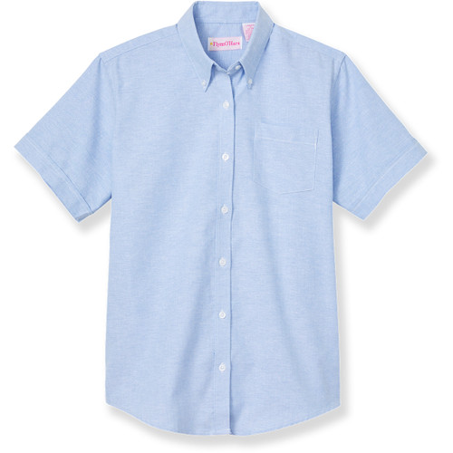 Short Sleeve Oxford Blouse with embroidered logo [NY838-OX/S HMV-BLUE]