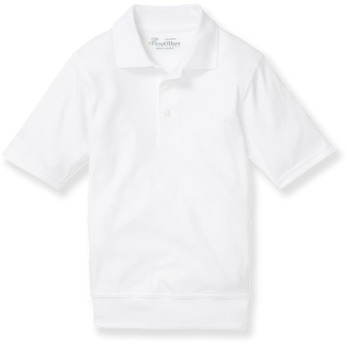 Short Sleeve Banded Bottom Shirt with embroidered logo [PA514-9611/AC-WHITE]