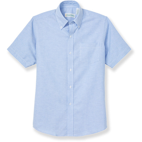 Short Sleeve Oxford Shirt with embroidered logo [MD219-OXF-SS-BLUE]