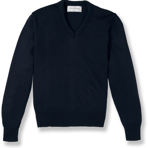 V-Neck Pullover Sweater with embroidered logo [NJ047-6500-NAVY]