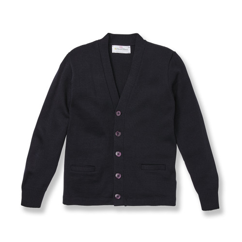 V-Neck Cardigan Sweater with embroidered logo [NJ047-1001-NAVY]