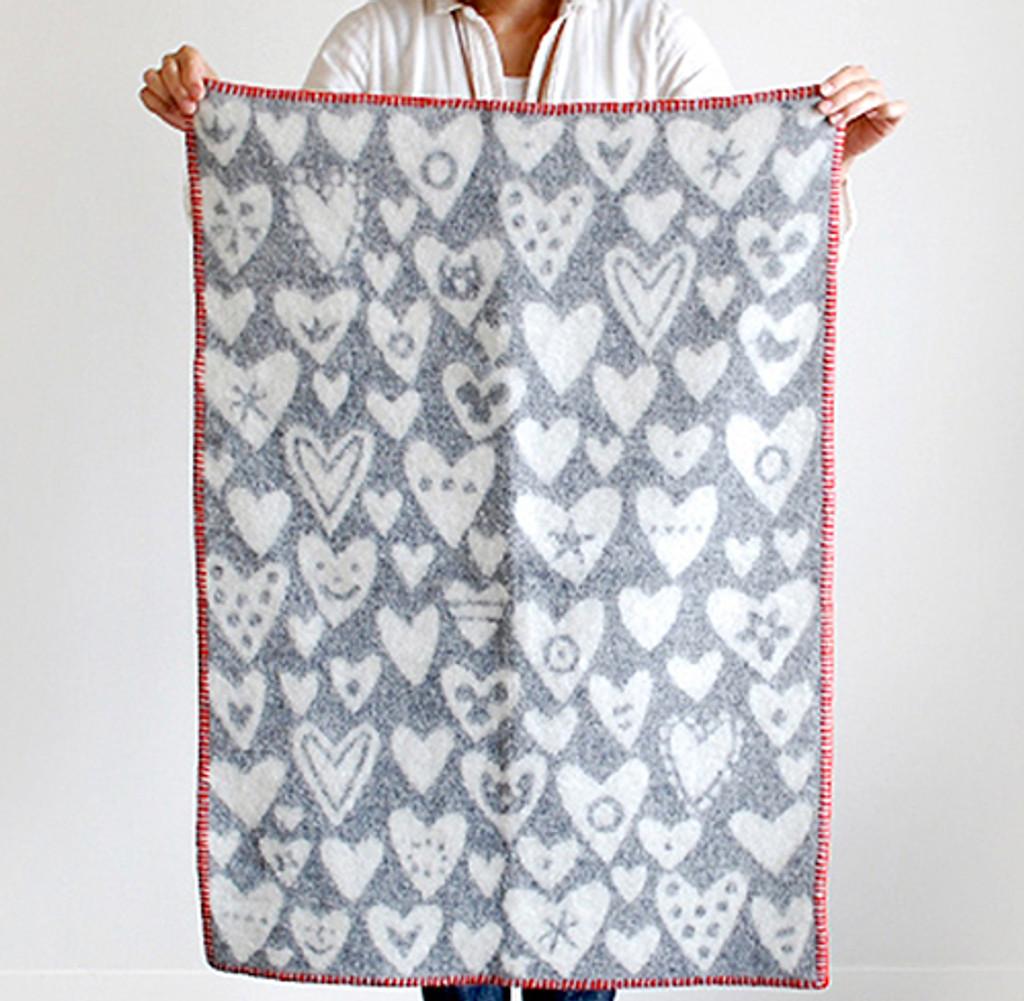 KLIPPAN | Blanket - Woven Eco Wool, Baby Heart  | Pink/Red