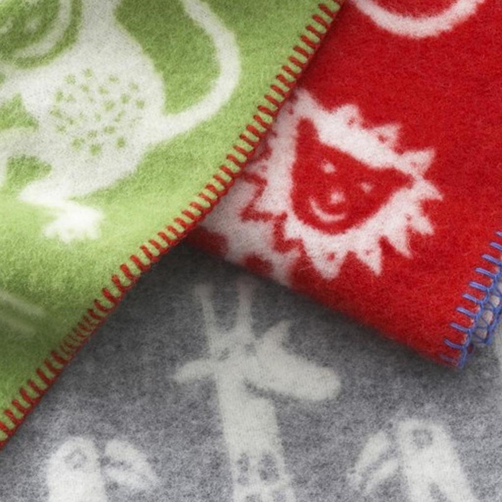 KLIPPAN   Blanket - Woven Eco Wool, Jungle   Red