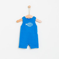 KNOT | SS18 | LITTLE FISH KNITTED ROMPER | BLUE