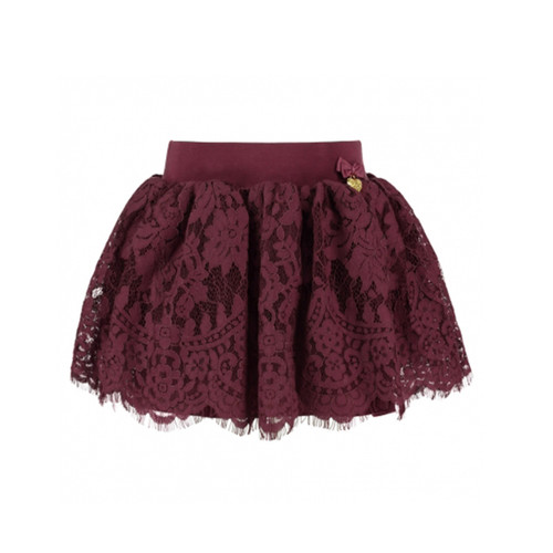 Angel's Face | Romantic Lace Skirt | Red Wine