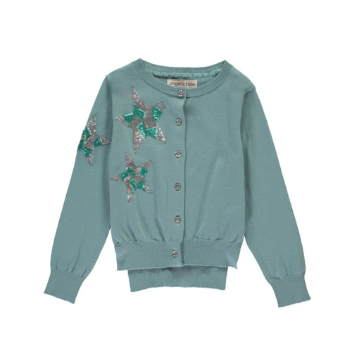 Angel's Face | Sequin Star Cardigan | Cameo Blue