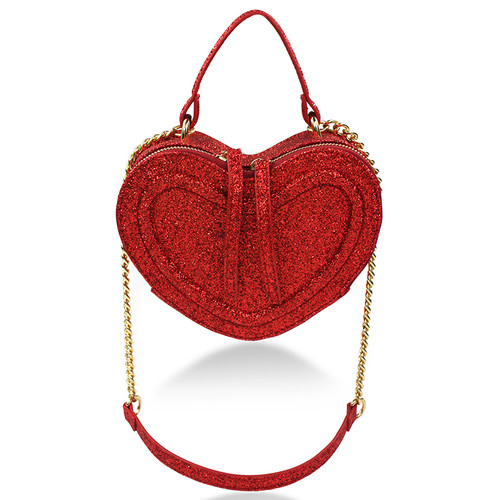 MILK & SODA | GLITTER HEART BAG | RED