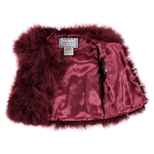 ANGEL'S FACE | MARABOU FEATHER JACKET | BURGUNDY