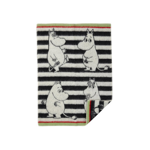 KLIPPAN | Blanket - Woven Lambs Wool, Moomin | Black