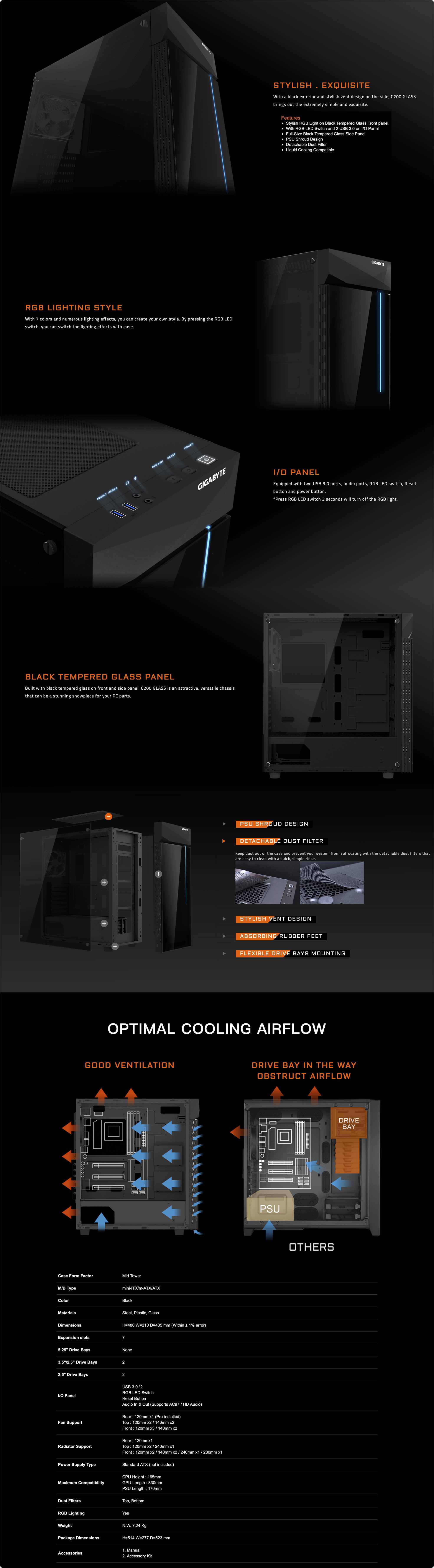 GIGABYTE C200 GLASS Case description