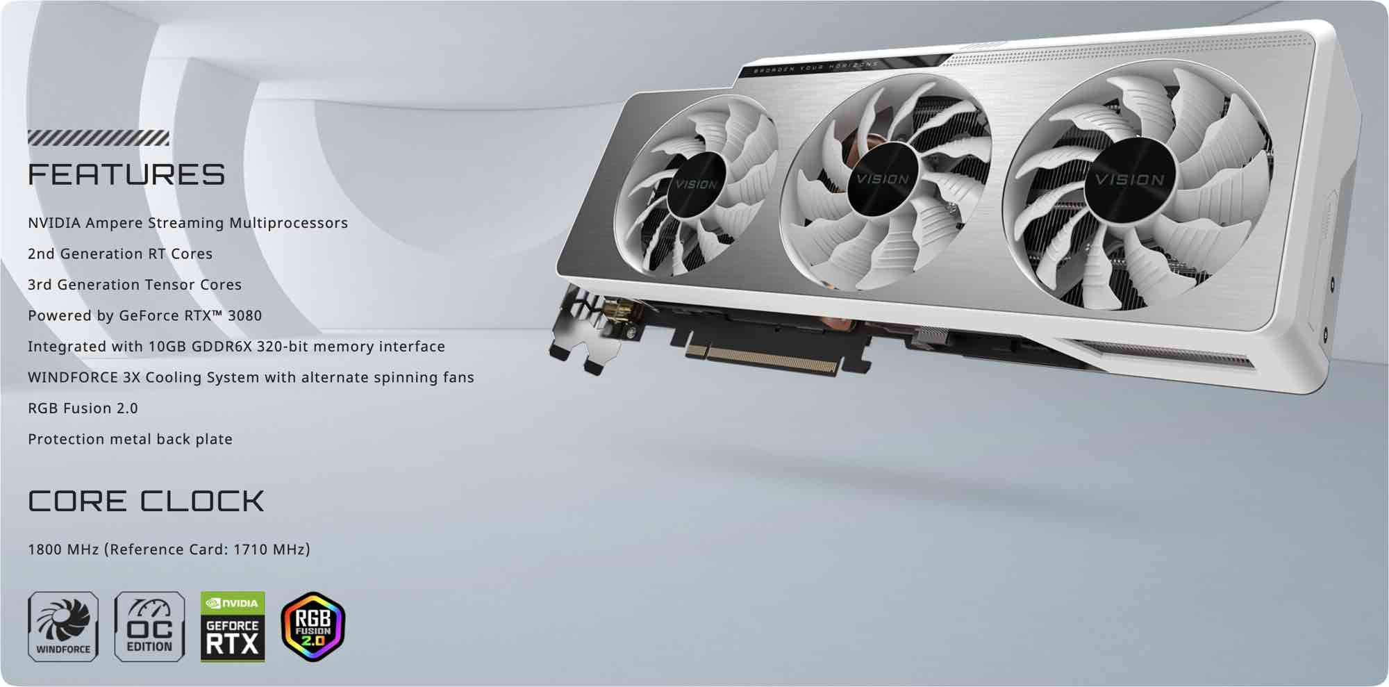 Gigabyte nVidia GeForce RTX 3080 VISION OC 10G description