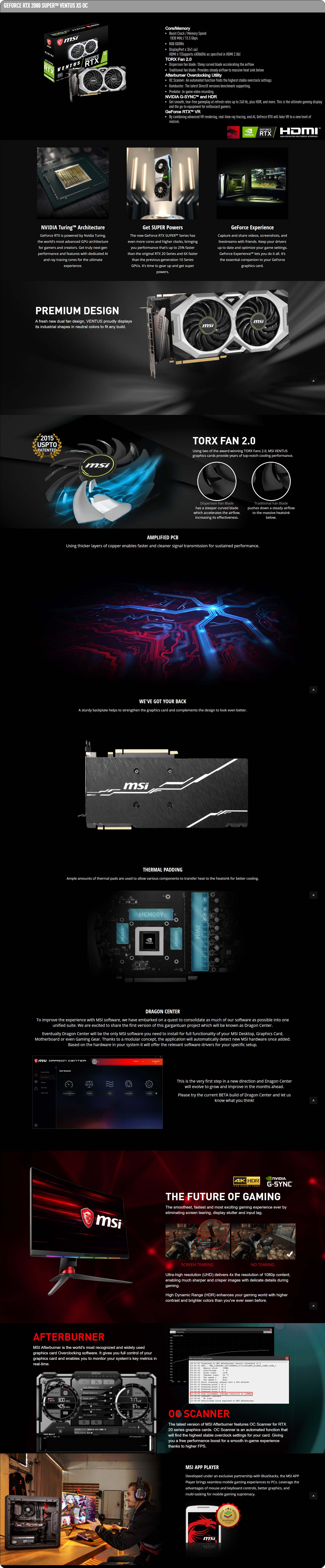 MSI GEFORCE RTX 2080 SUPER VENTUS XS OC graphics card - Description