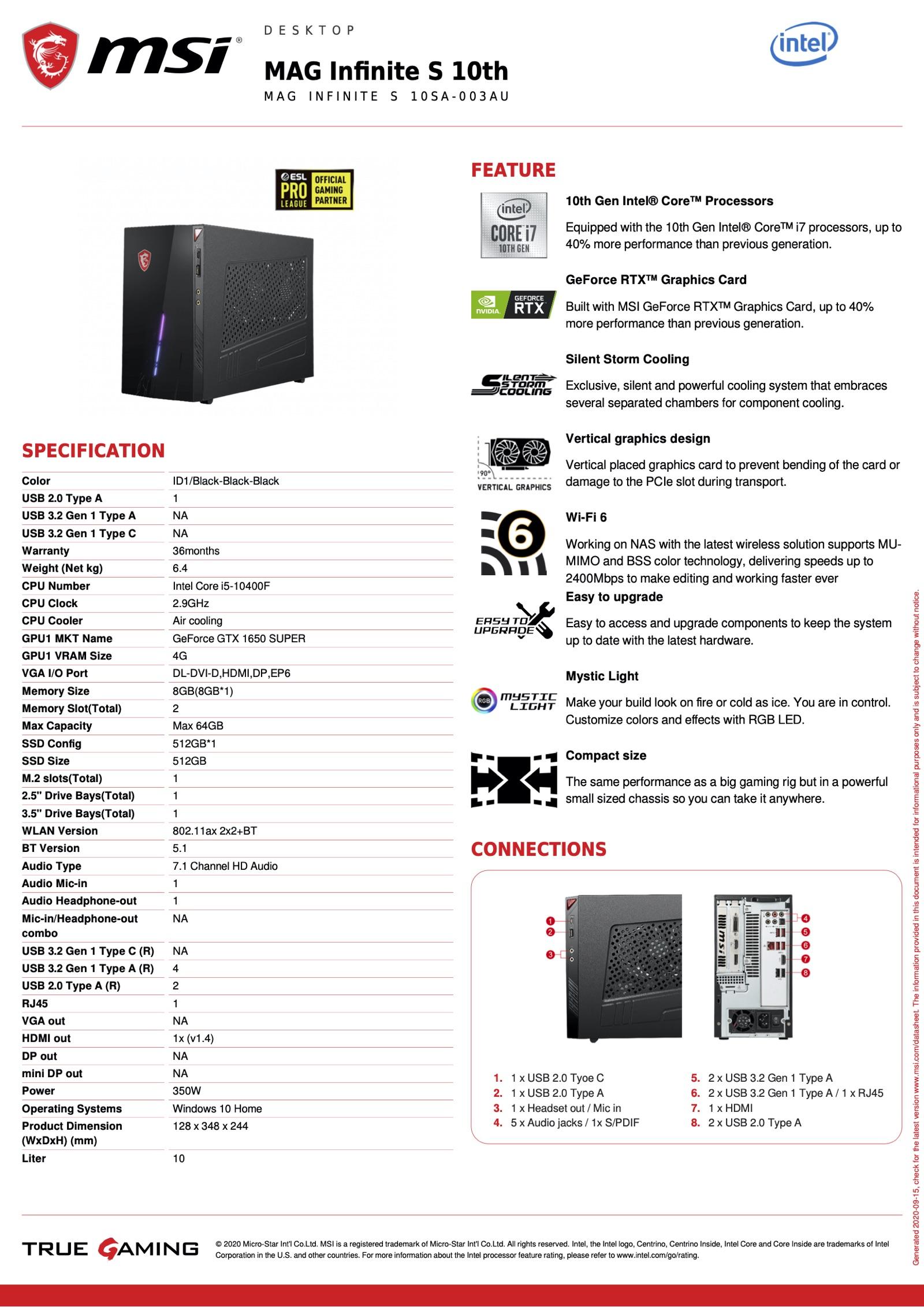 msi-mag-infinite-s-10sa-003au-datasheet