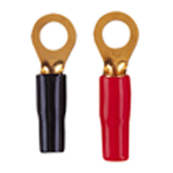 Red/Black Gold Plated Crimp Type Ring Terminal with 8 mm Ring for 5 mm Cable