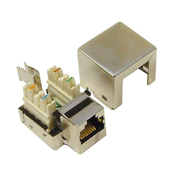 Silver Grey RJ45 Shielded Keystone Jack. Bulk