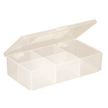 White Size 5 Compartment Box with Hinged Lid and Semi Transparent Finish