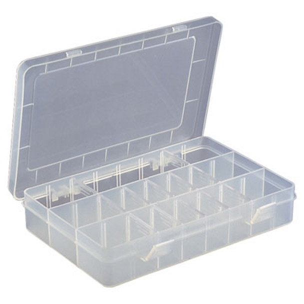White Size 15 Compartment Box with Semi-transparent Hinged Lid
