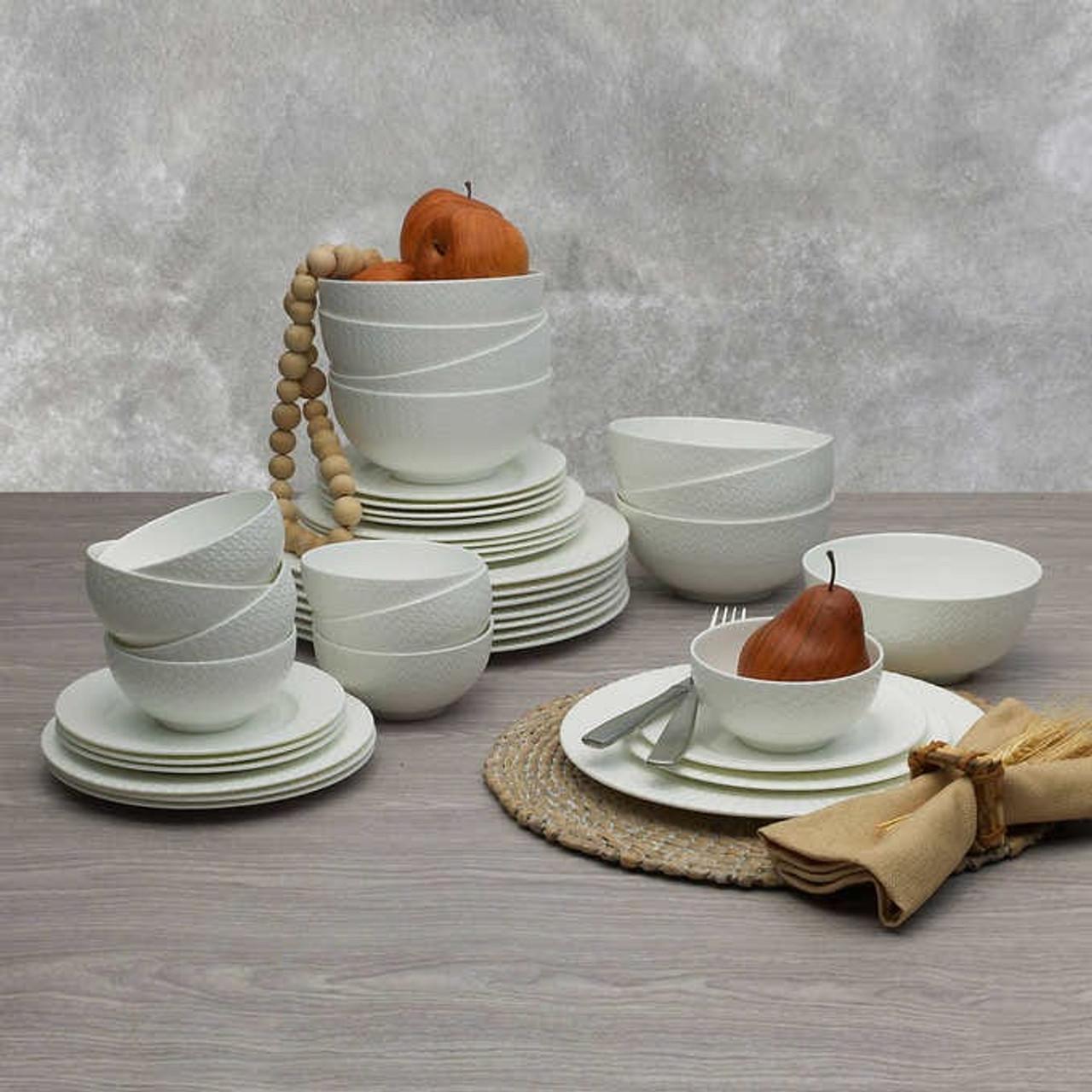 Mikasa Lattice 40 Piece Bone China Dinnerware Set American Glassware