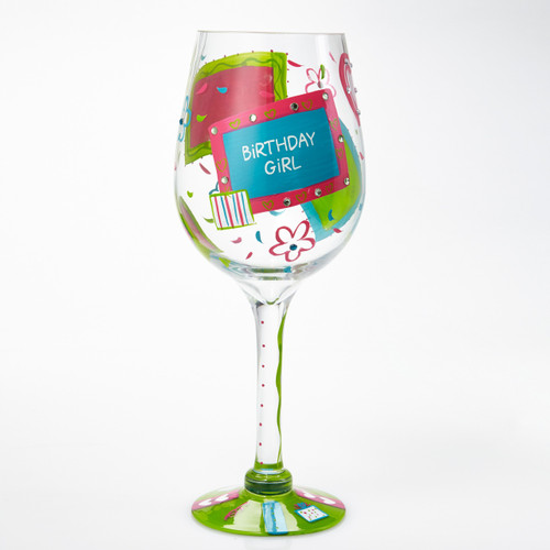 """This giant Birthday Girl wine glass it the perfect display decoration or gift for any birthday girl. This giant glass has a unique recipe. Every glass is mouth blown and hand painted.   16"""" tall"""