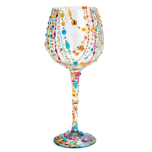 The perfect gift for any occasion, this glass has a TON of bling! All Super Bling Glasses come packaged in a trunk style gift box with a recipe and message by Lolita. Every glass is mouth blown and hand painted.  22 oz capacity
