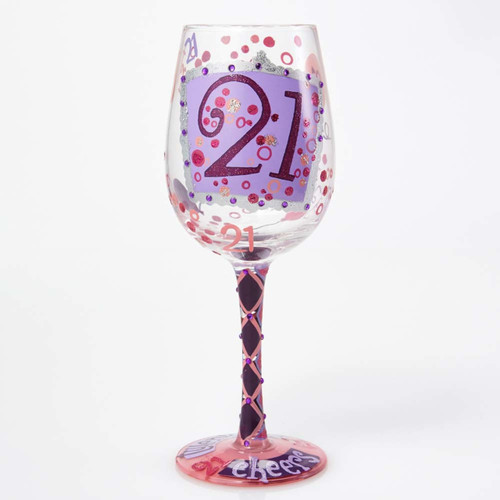 "Lolita glassware adds fashion, flair, and a dash of sass to your favorite drinks. This decorative 15 oz. ""21"" wine glass is the perfect way to celebrate a young lady's milestone ""legal"" birthday!  15 oz capacity"