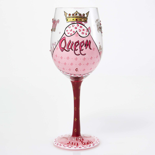 Lolita glasses combine hand painted accents with sassy messages that help you celebrate any occasion in style. Arrives in a beautiful gift box with a unique cocktail recipe painted under the base of the glass. Made from artisan blown glass.  15 oz capacity