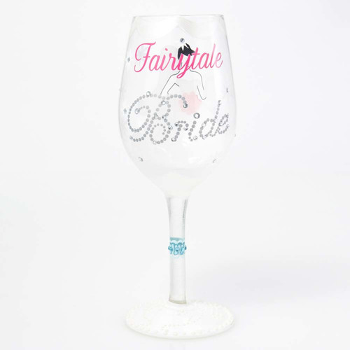 The perfect gift for the Bride to be as she lives her fairytale with a happily ever after. All Lolita Wine Glasses come packaged in a signature gift box with a unique recipe. Every glass is mouth blown and hand painted.  15 oz capacity