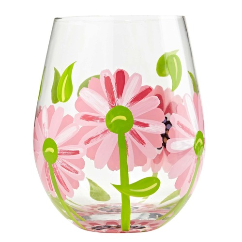 A perfect gift for any occasion. The glass has detailed pink daisy design that can be seen inside the glass. All Lolita Stemless Wine Glasses come packaged in a signature gift box. Every glass is mouth blown and hand painted. 20 oz capacity