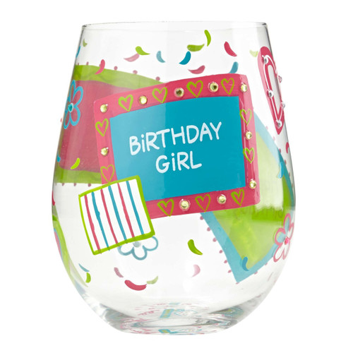 The perfect gift for the Birthday Girl with bright colors of purple pink and aqua. All Lolita Stemless Wine Glasses come packaged in a signature gift box. Every glass is mouth blown and hand painted.  20 oz capacity
