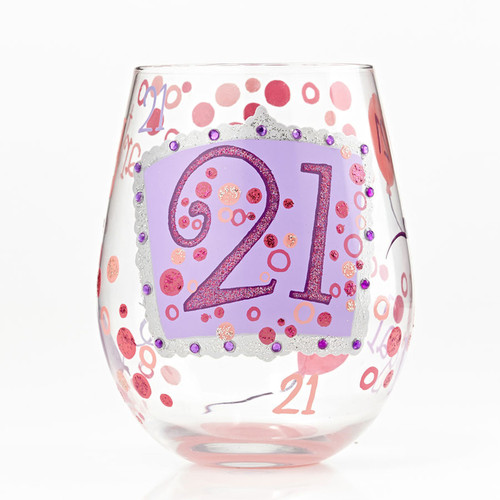 The perfect gift for her 21st birthday. All Lolita Stemless Wine Glasses come packaged in a signature gift box. Every glass is mouth blown and hand painted.  20 oz capacity
