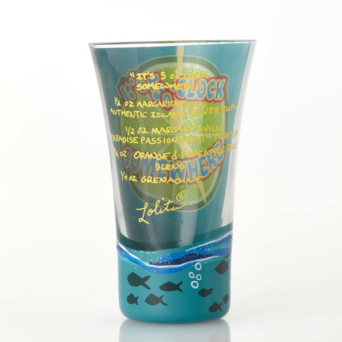 You are one shooter away from paradise with the new Lolita Margaritaville shot glass. All Lolita Glasses come packaged in a signature gift box . Every glass is hand painted.   2 oz capacity