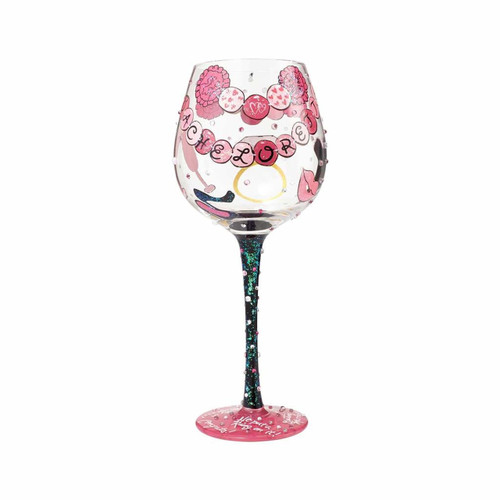 The perfect gift for the bachelorette to celebrate her special night . All Lolita Wine Glasses come packaged in a signature gift box with a unique recipe. Every glass is mouth blown and hand painted.  22 oz capacity