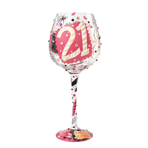 The perfect gift for her 21st Birthday. All Super Bling Glasses come packaged in a trunk style gift box with a recipe and message by Lolita. Every glass is mouth blown/ hand painted.   22 oz capacity