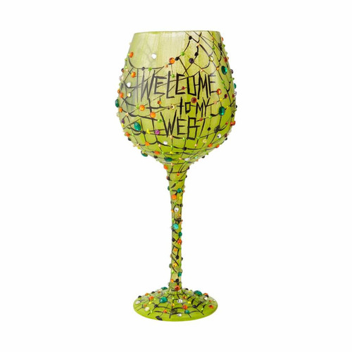 What a whimsical web we weave touched with tons of bling This super size 22 oz wine glass comes packaged in trunk style case with recipe and special message from Lolita.  22 oz capacity