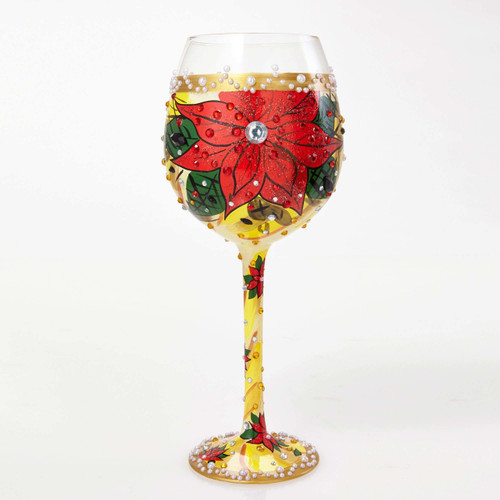 The perfect gift for the holiday season, this glass has a TON of bling! All Super Bling Glasses come packaged in a trunk style gift box with a recipe and message by Lolita. Every glass is mouth blown and hand painted.  22 oz capacity