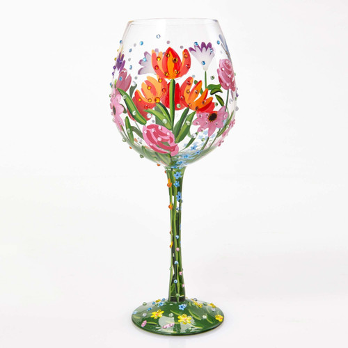 The perfect gift for that gal who loves spring, this glass has TONS of bling, great for any occasion! All Super Bling Glasses come packaged in a trunk style gift box with a recipe and message by Lolita. Every glass is mouth blown/ hand painted.  22 oz capacity