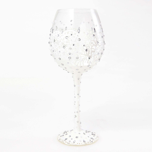 The perfect gift for the Bride to be, this glass has TONS of bling! All Super Bling Glasses come packaged in a trunk style gift box with a recipe and message by Lolita. Every glass is mouth blown and hand painted.   22 oz capacity