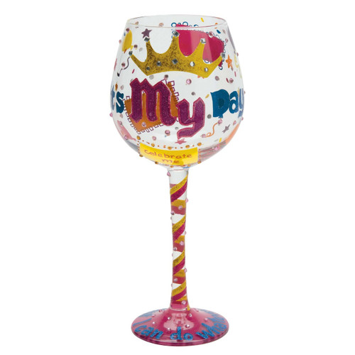 This super size 22 oz wine glass has TONS of bling it is the perfect gift with bright words saying it s my day Comes packaged in trunk style case with recipe and special message from Lolita. 22 oz capacity