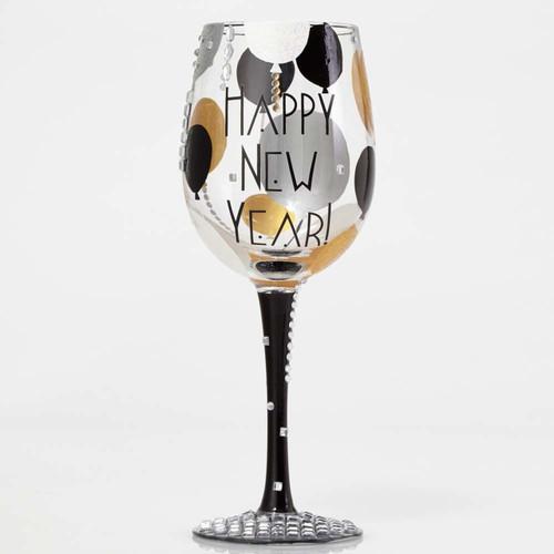 """Happy New Year"" Wine Glass by Lolita"