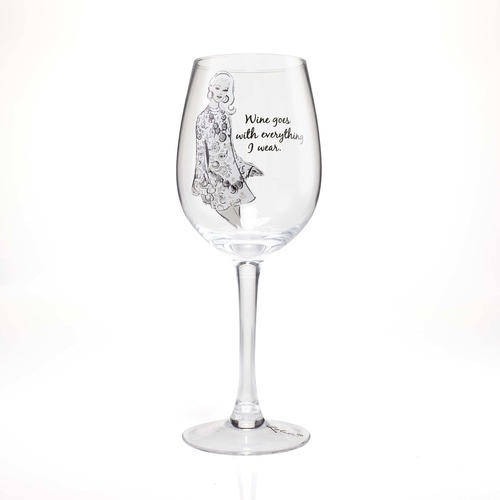 """Wine Goes With Everything I Wear"" Wine Glass by Lolita"