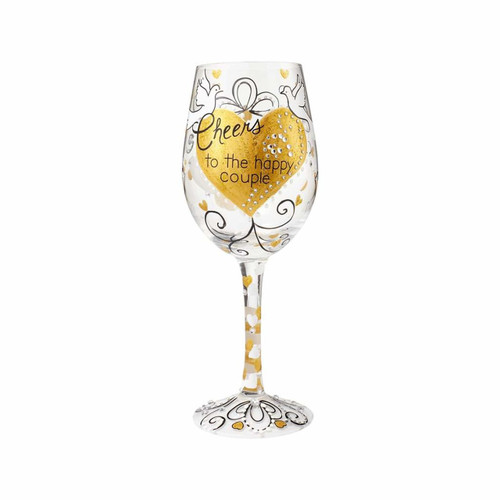 """""""Cheers to the Happy Couple"""" Wine Glass by Lolita"""