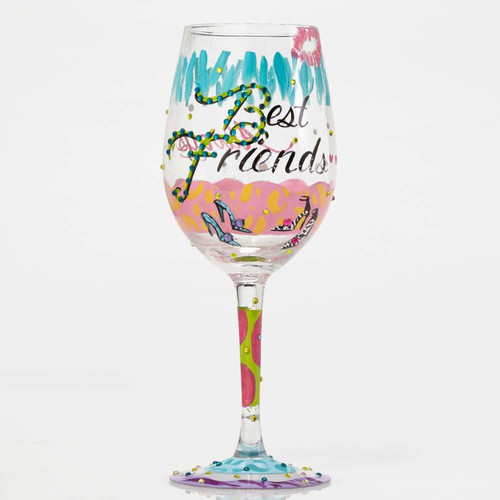 """Best Friends Always"" Wine Glass by Lolita"