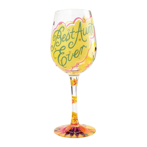 """""""Best Aunt Ever"""" Wine Glass by Lolita"""