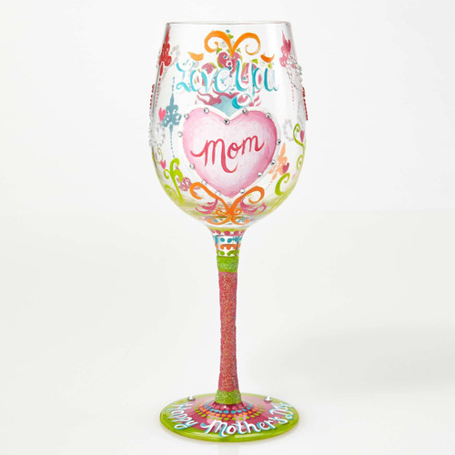 """Love You Mom"" Wine Glass by Lolita"