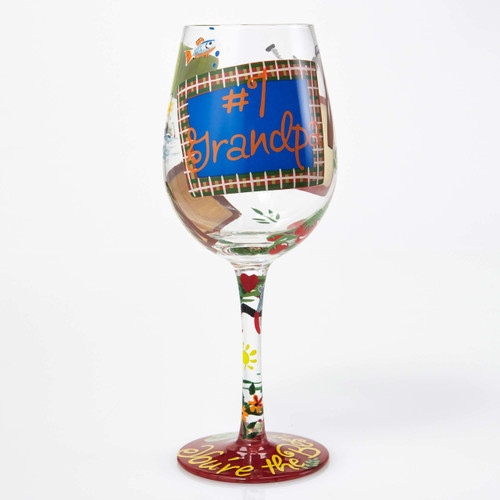 """#1 Grandpa"" Wine Glass by Lolita"