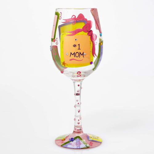 """#1 Mom"" Wine Glass by Lolita"