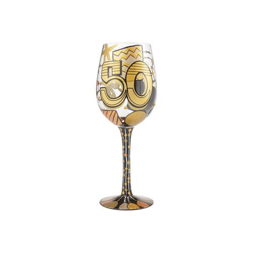 """50th Birthday"" Wine Glass by Lolita"