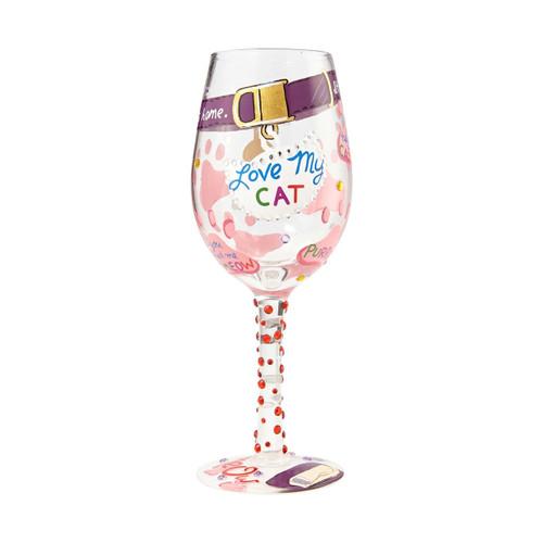 """Love My Cat"" Wine Glass by Lolita"