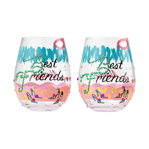 """Best Friends"" Set of 2 Stemless Wine Glass by Lolita"